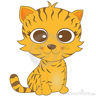 Cute looking brown stripe cat with big eyes