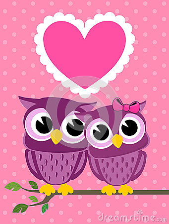 Cute love birds owls greeting card