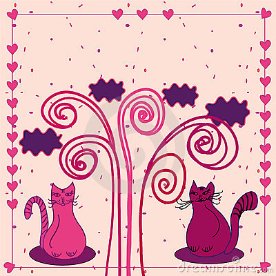 Cute love card with cats
