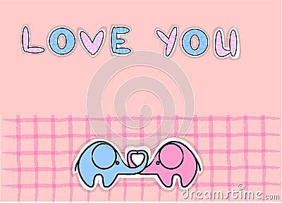 Cute love elephants vector