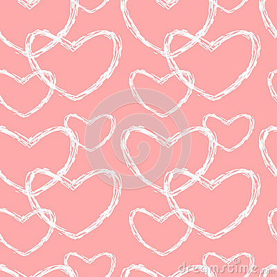 Cute lovely pink and white sketch hearts seamless pattern background illustration Vector Illustration