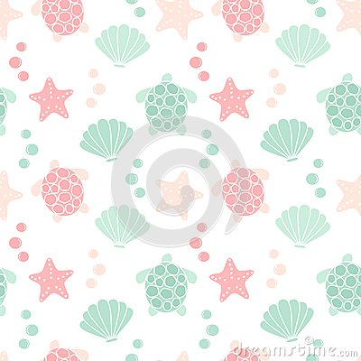 Free Cute Lovely Summer Seamless Vector Pattern Background Illustration With Turtles, Shells And Starfishes Stock Photos - 121841683