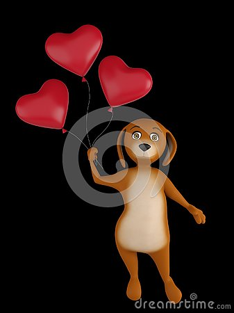 A cute lover valentine cartoon dog with a red heart baloons isolated on black background. 3d render Stock Photo