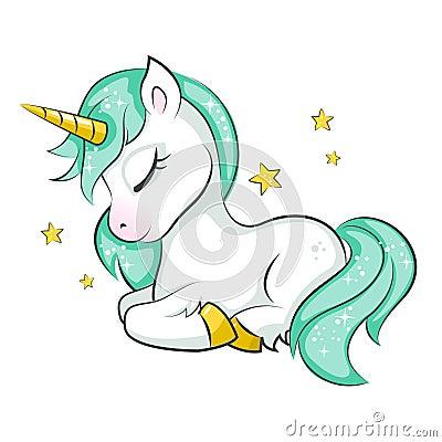 Cute little unicorn. Vector Illustration