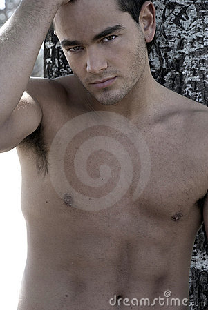 Cute male model looking straight to camera