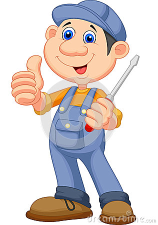 Free Cute Mechanic Cartoon Holding A Screwdriver And Giving Thumbs Up Royalty Free Stock Image - 34607086
