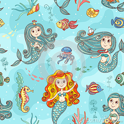Free Cute Mermaids Seamless Pattern Color Royalty Free Stock Image - 50532076