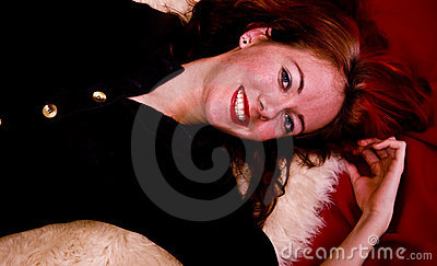 Cute model on Sheepskin Rug