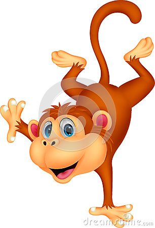Free Cute Monkey Cartoon Standing In Its Hand Stock Images - 39820504