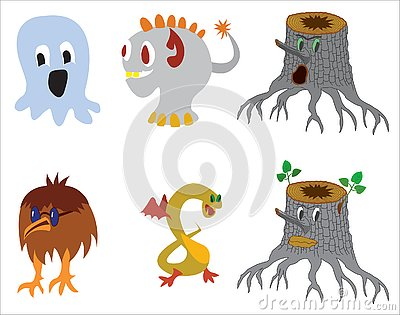 Cute monster color character funny design elements Vector Illustration