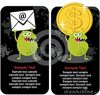 Cute monster with dollar coin and e-mail.