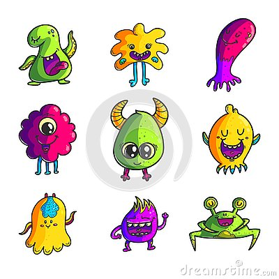 Cute monsters color hand drawn characters set Vector Illustration