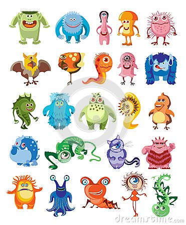 Free Cute Monsters Set Royalty Free Stock Photo - 106012585