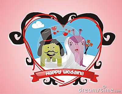 Cute monsters wedding couple