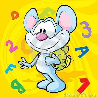 Cute mouse cartoon illustration with school bag