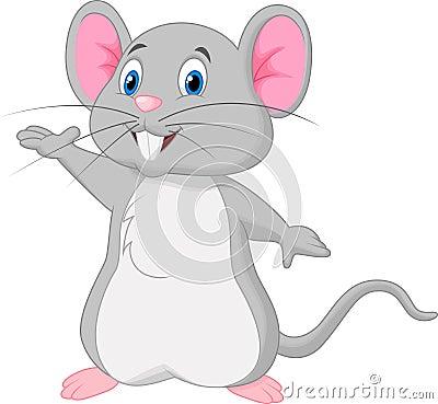 Free Cute Mouse Cartoon Waving Stock Photography - 45674042