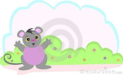 Cute Mouse and Flower Bush with a Text Bubble