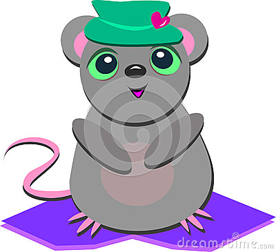 Cute Mouse with a Heart Hat