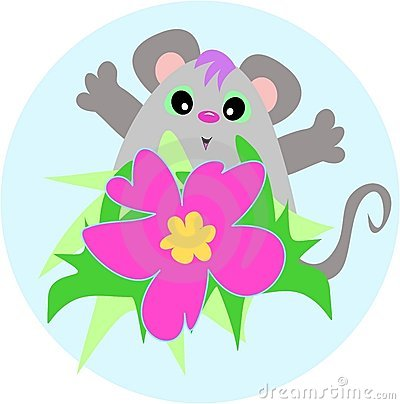 Cute Mouse with a Hibiscus Flower