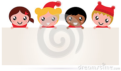 Cute multicultural christmas kids banner
