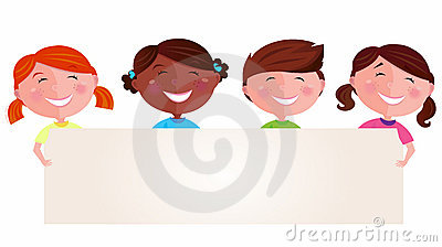 Cute multicultural kids holding a blank banner