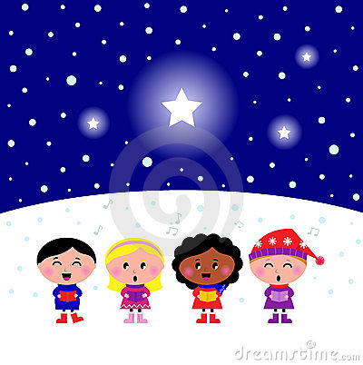 Cute multicultural Kids singing Christmas sign Vector Illustration