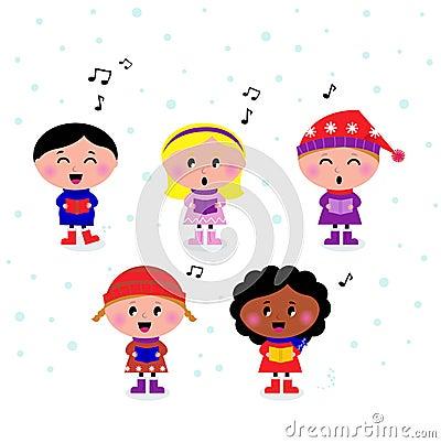 Cute multicultural singing & caroling Kids
