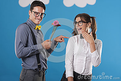Cute nerd couple