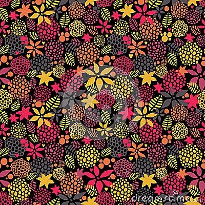 Cute night flowers seamless pattern.