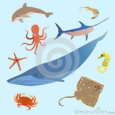 Free Cute Ocean Animals Simple Creatures. Octopus, Shark Sea Cartoon Fish. Vector Royalty Free Stock Photos - 79075308