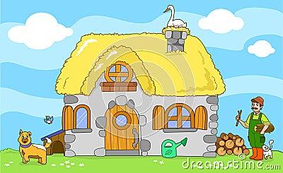 Cute old farm. Cartoon illustration.
