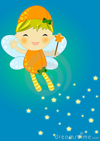 Cute orange firefly fairy