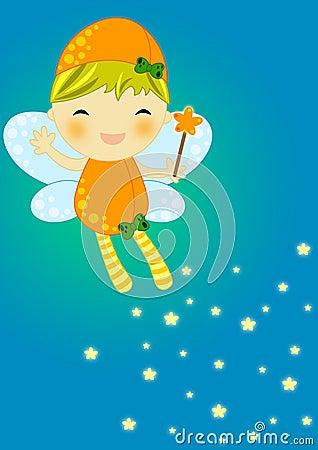 Cute orange firefly fairy