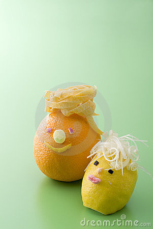 Cute orange and lemon