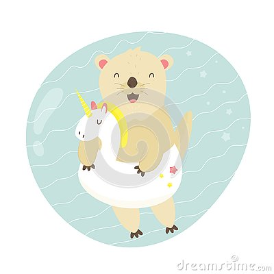 Cute otter swimming in a pool with a unicorn toy Vector Illustration