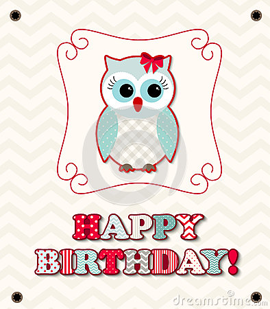 Cute owl with colorful patterned letters, birthday card, illustration Vector Illustration