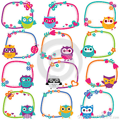 Free Cute Owl Frames Clip Art Set Royalty Free Stock Images - 51606519
