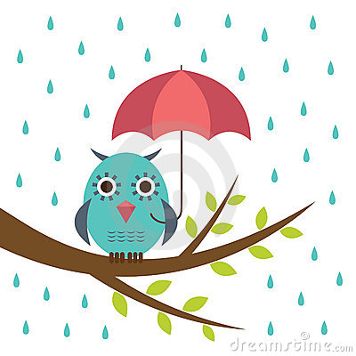 Cute owl with umbrella