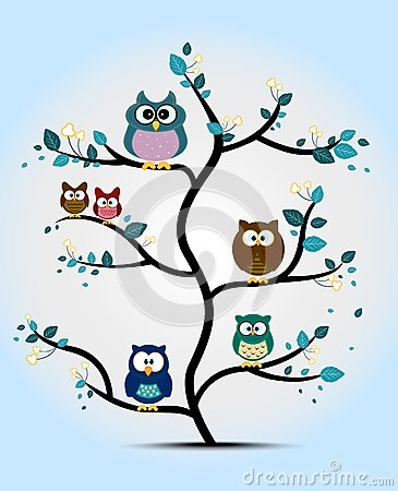 Free Cute Owls Perched On A Tree Stock Photography - 54490982
