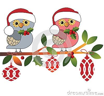 Cute owls in Santa Hats