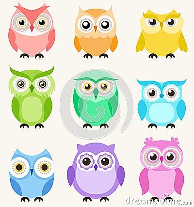 Free Cute Owls Set Royalty Free Stock Photo - 50594585