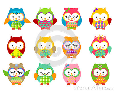 Cute owls Vector Illustration