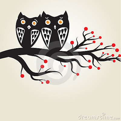 Cute owls on the tree