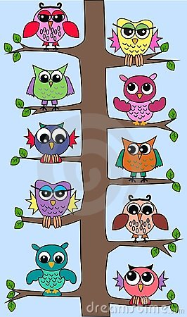 Cute owls in a tree Vector Illustration