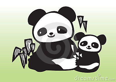 Cute panda with baby