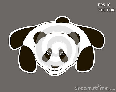 Cute Panda Cartoon on Grey Background. Editable Vector Illustration