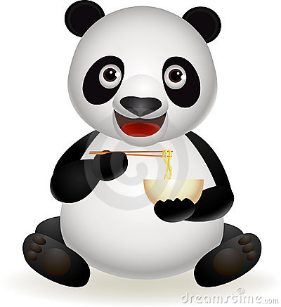 Cute panda eating noodle