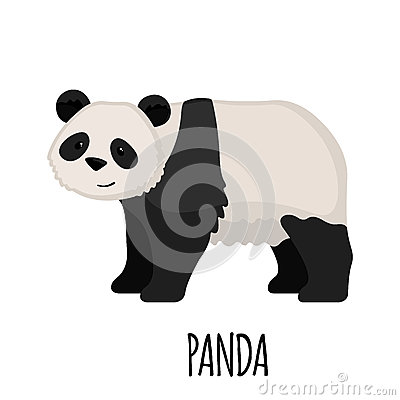 Cute Panda in flat style Vector Illustration