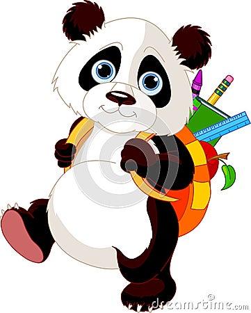 Cute panda go to school