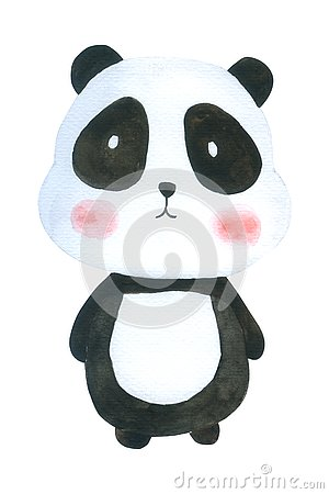Free Cute Panda Watercolor Isolated On White Background , Hand Drawn Character For Kids, Greeting Card , Cases Design, Royalty Free Stock Photography - 126488637